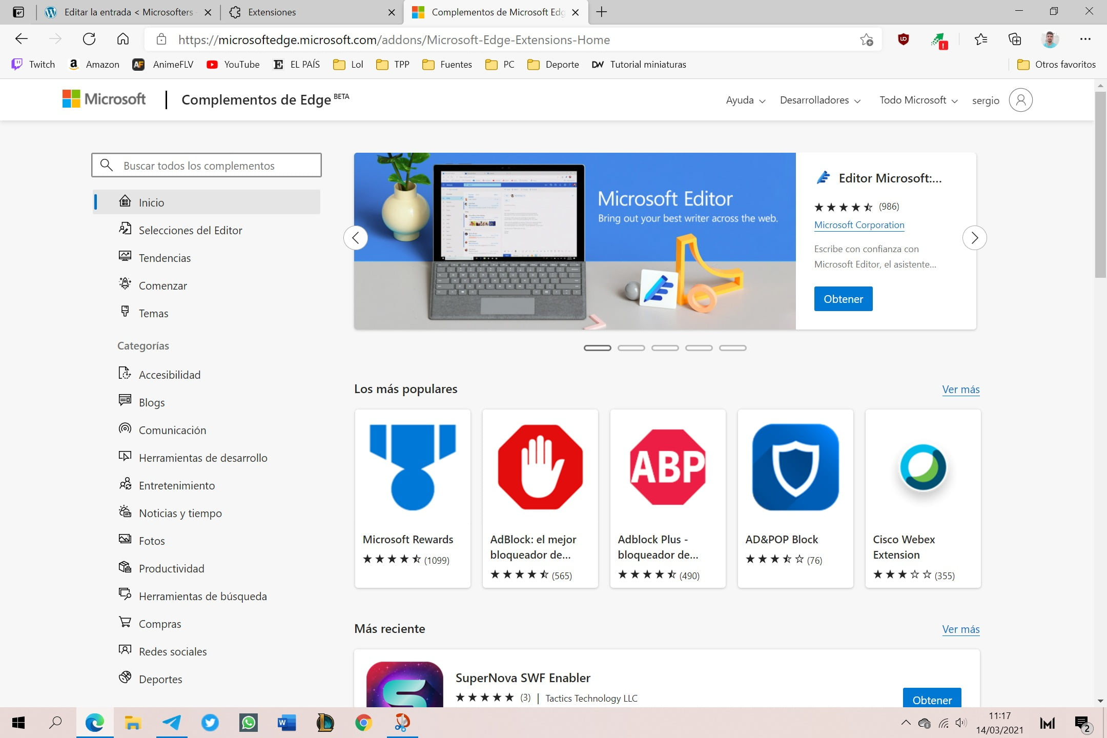 Tienda de extensiones de Microsoft Edge