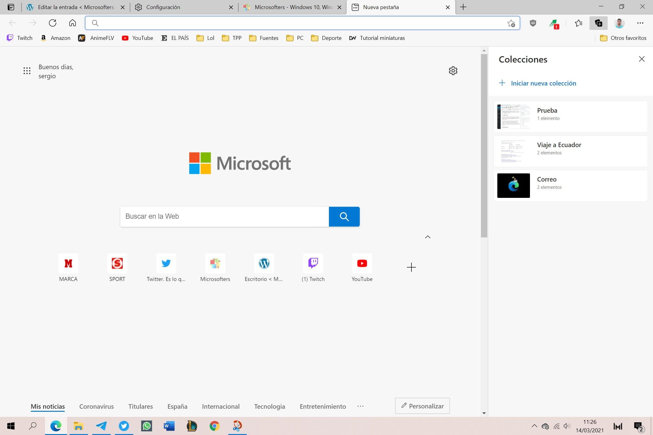 Colecciones de Microsoft Edge