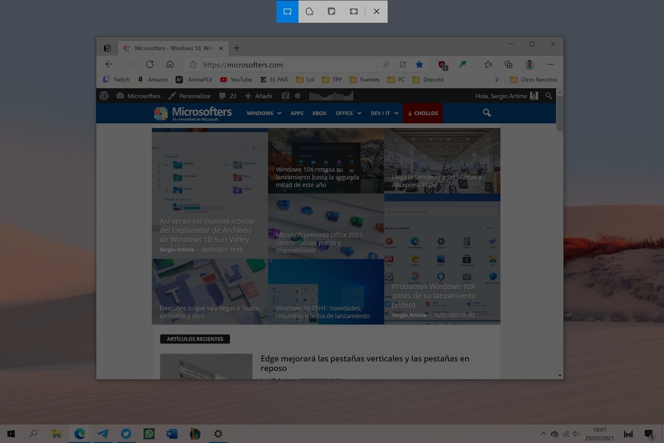 Recortes y anotación Windows 10