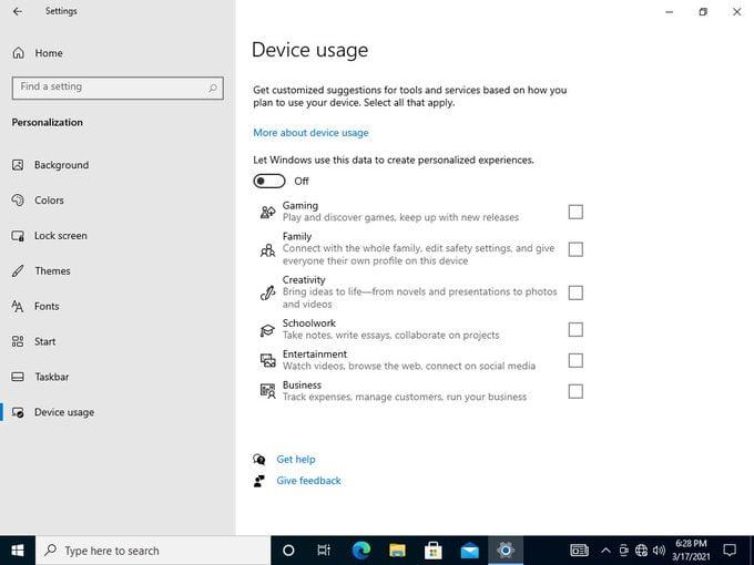 Windows 10 Build 21337 Personalización de uso del dispositivo