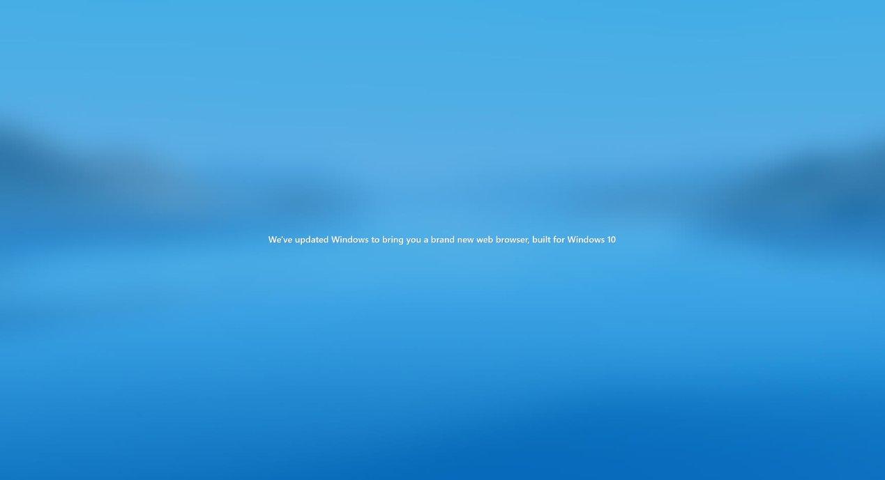 Pantalla de bienvenida de Microsoft Edge tras actualizar a Windows 10 20H2