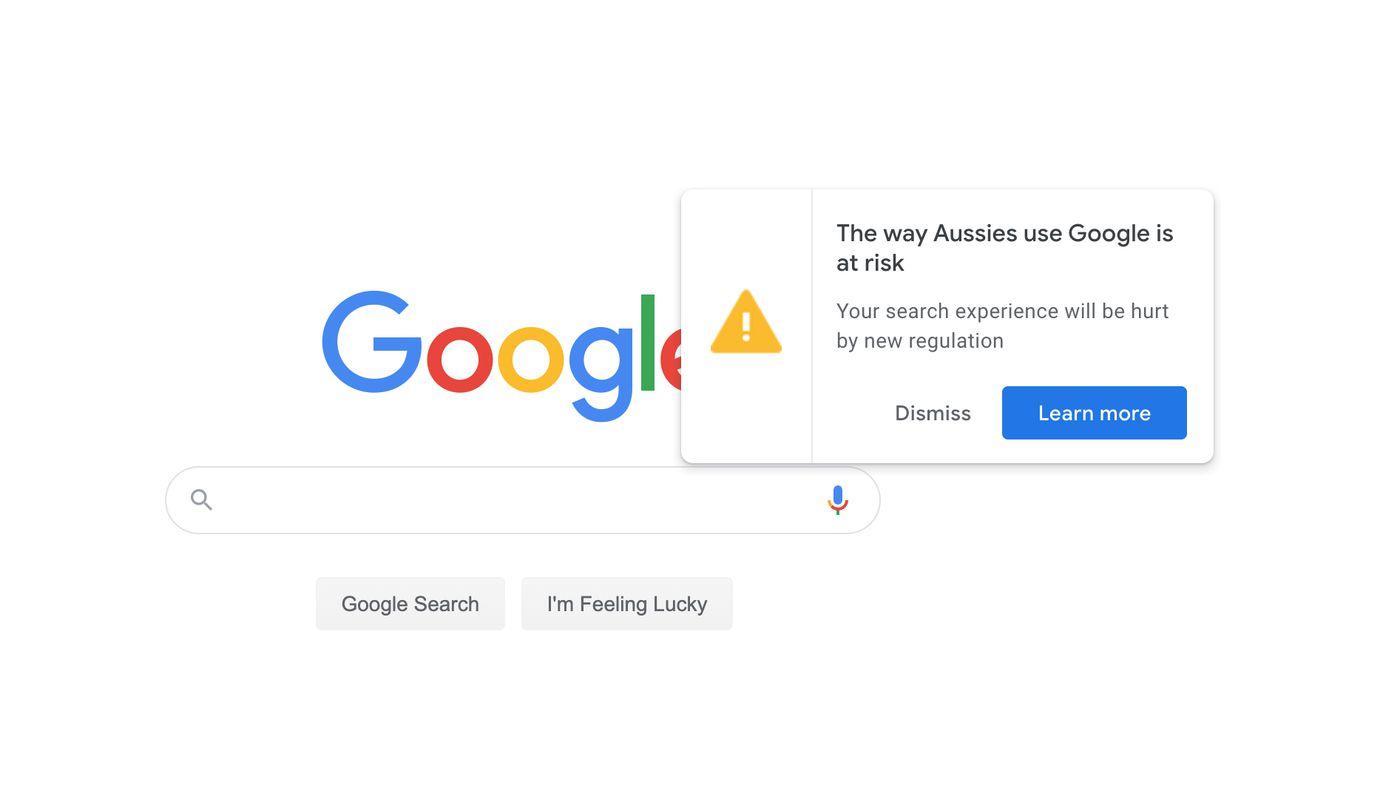 Aviso de Google en Australia
