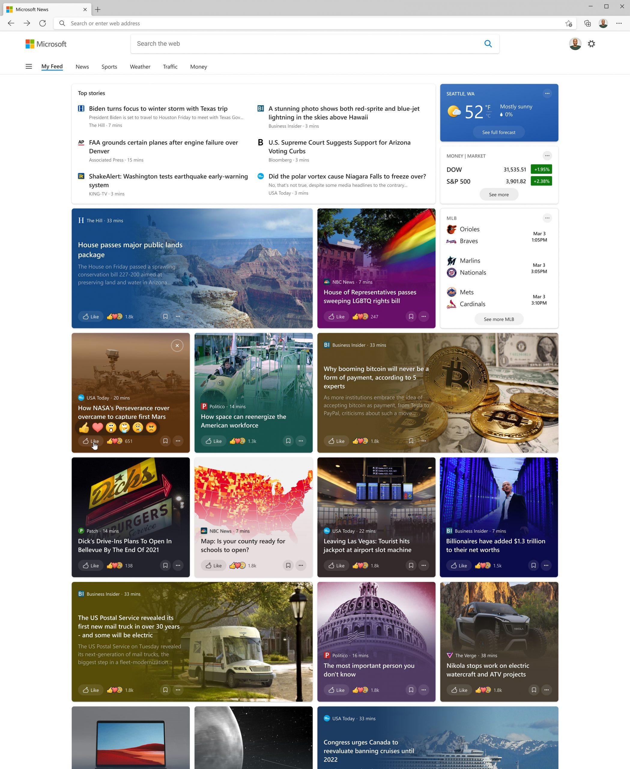 La nueva experiencia de noticias e intereses en el navegador