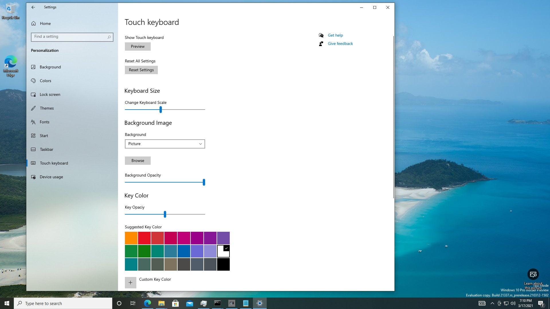 Personalización del nuevo teclado táctil de Windows 10 Sun Valley