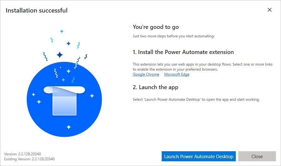 Power Automate Desktop tras la instalación
