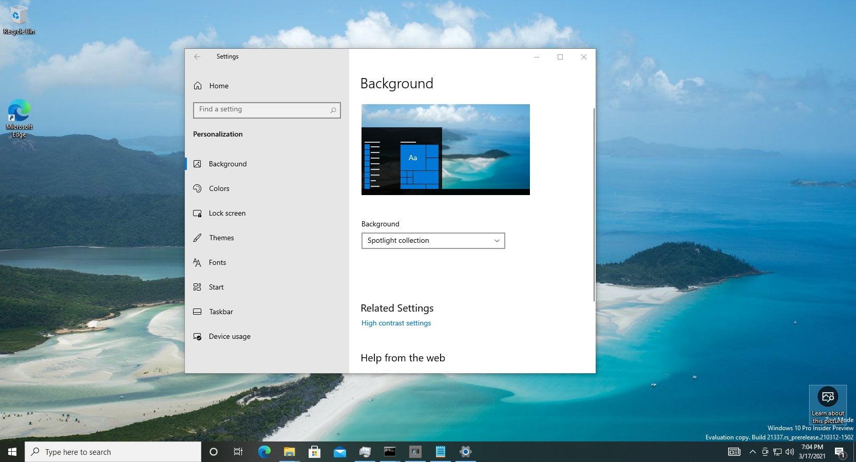 Windows Spotlight en escritorio de Windows 10