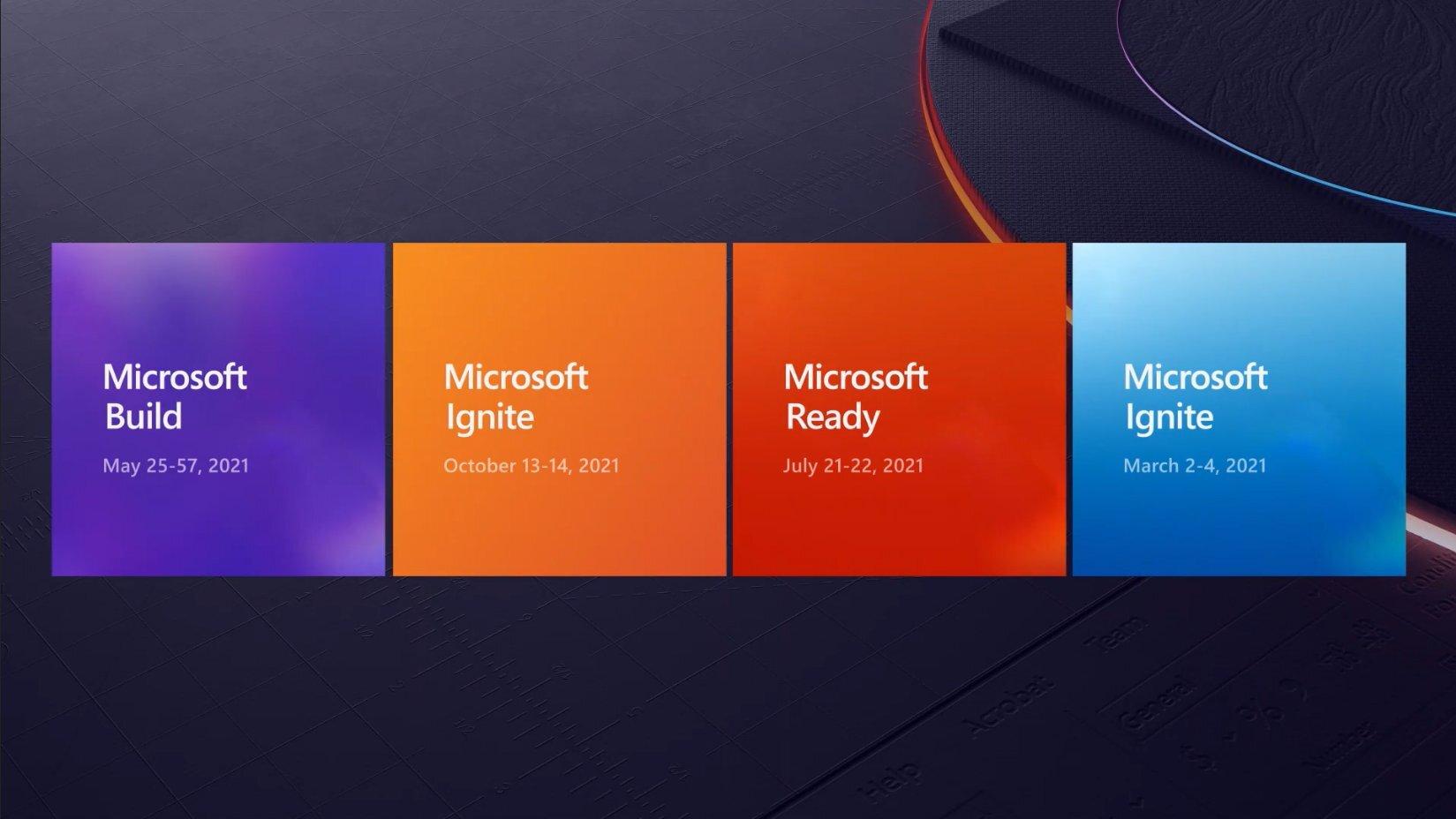Fechas de todos los eventos de Microsoft en 2021