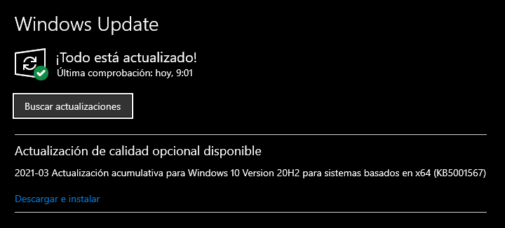 Actualización KB5001567 de Windows 10
