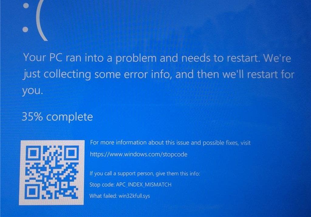 BSOD APC_INDEX_MISMATCH que aparece al imprimir en Windows 10 tras instalar la actualización KB5000802