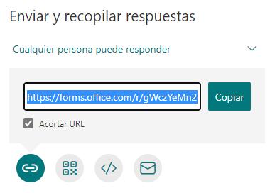 La opción de URL acortada en Forms