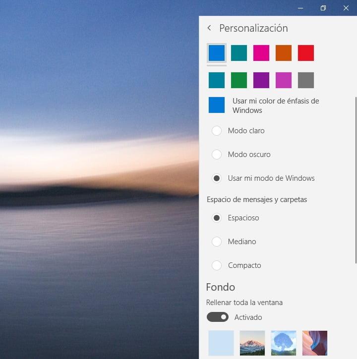 La personalizacion del aspecto en Correo de Windows 10