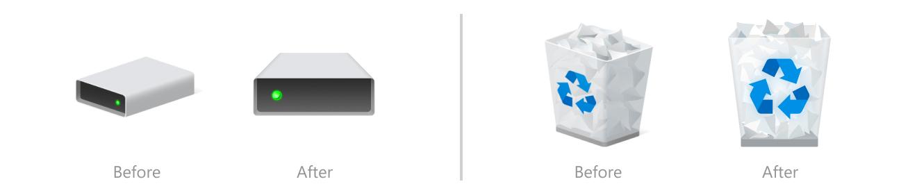 """Nuevos iconos de """"Papelera"""" y """"Dispositivos"""""""