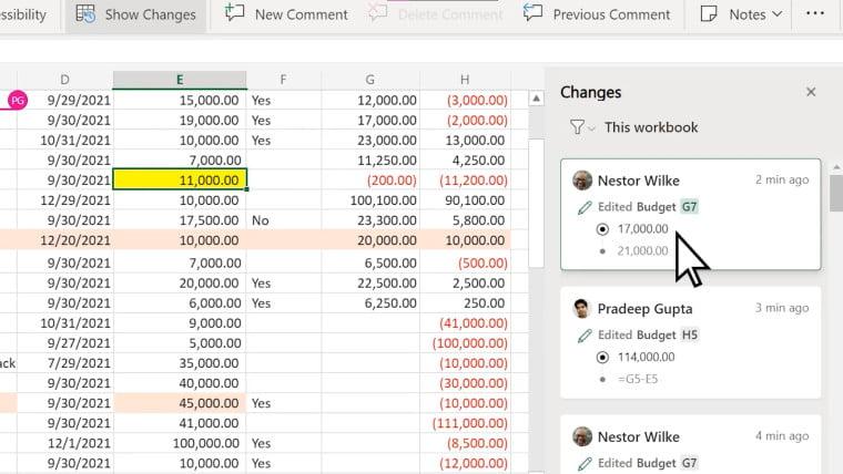 La nueva opción de Excel Online Mostrar Cambios