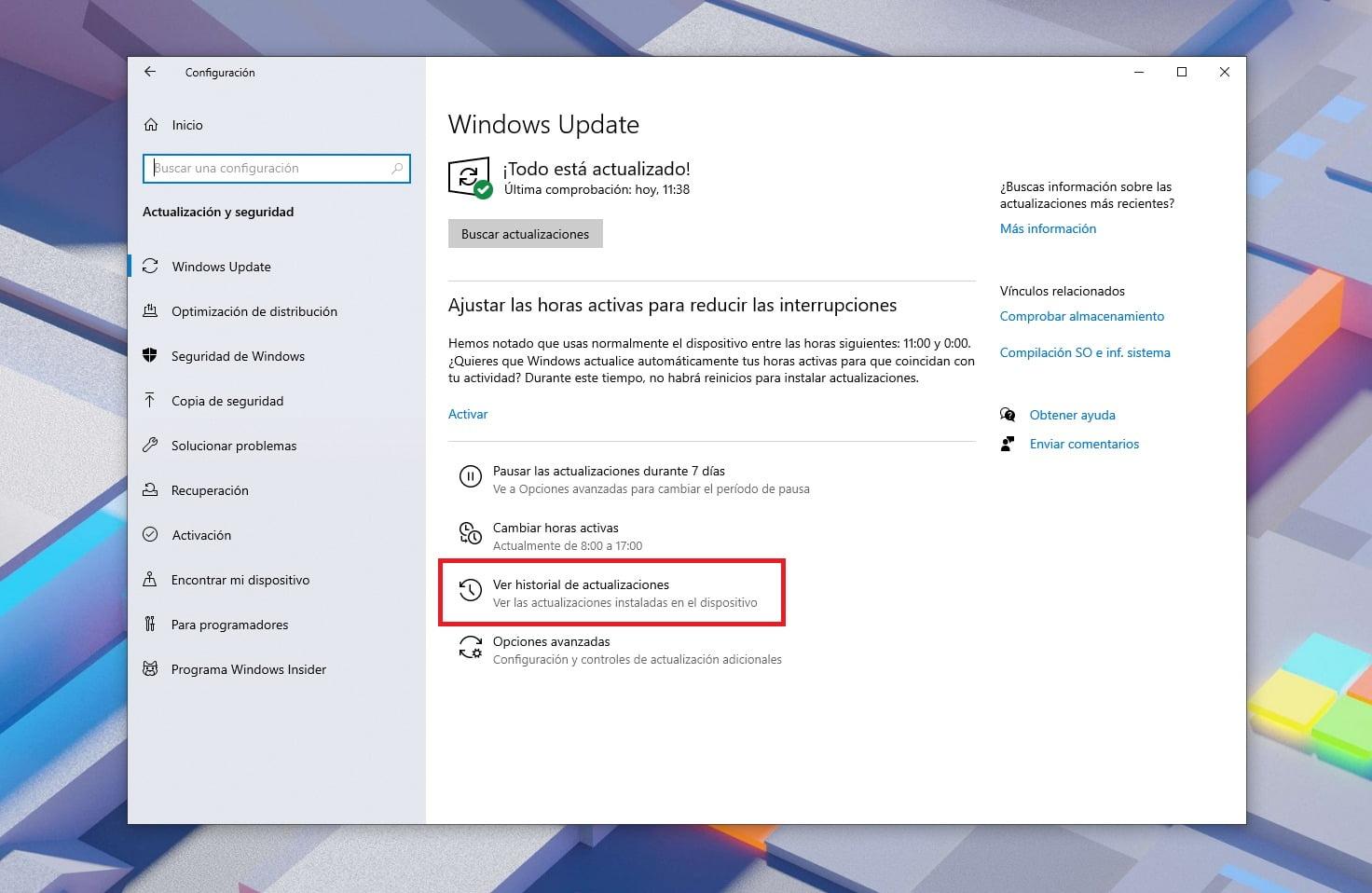 Desinstalar actualizaciones en Windows Update