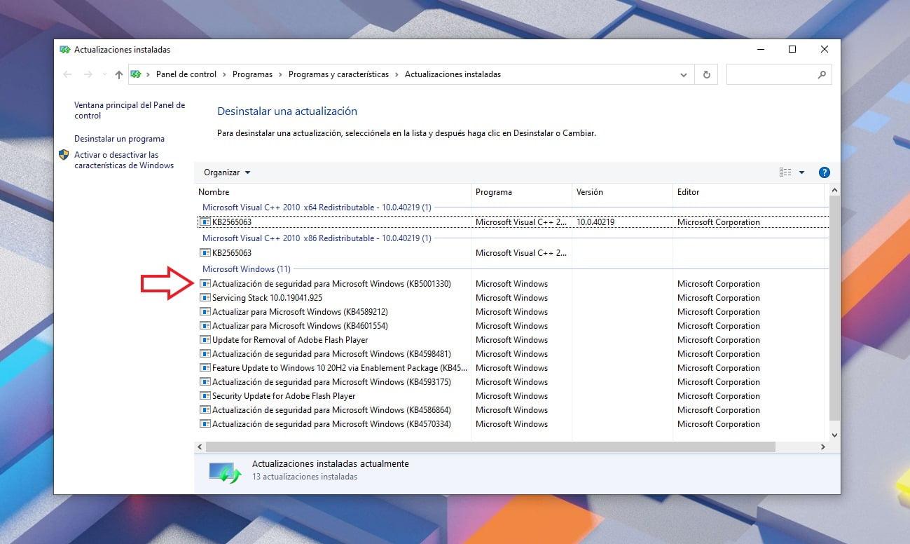 Desinstalar actualización KB5001330 desde Windows Update