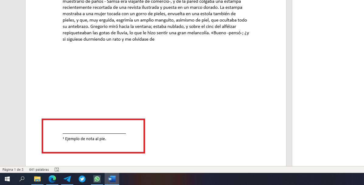 Nota al pie de página en Word