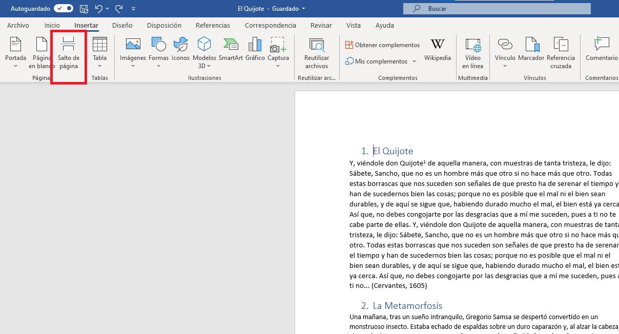 Insertar salto de página en Word