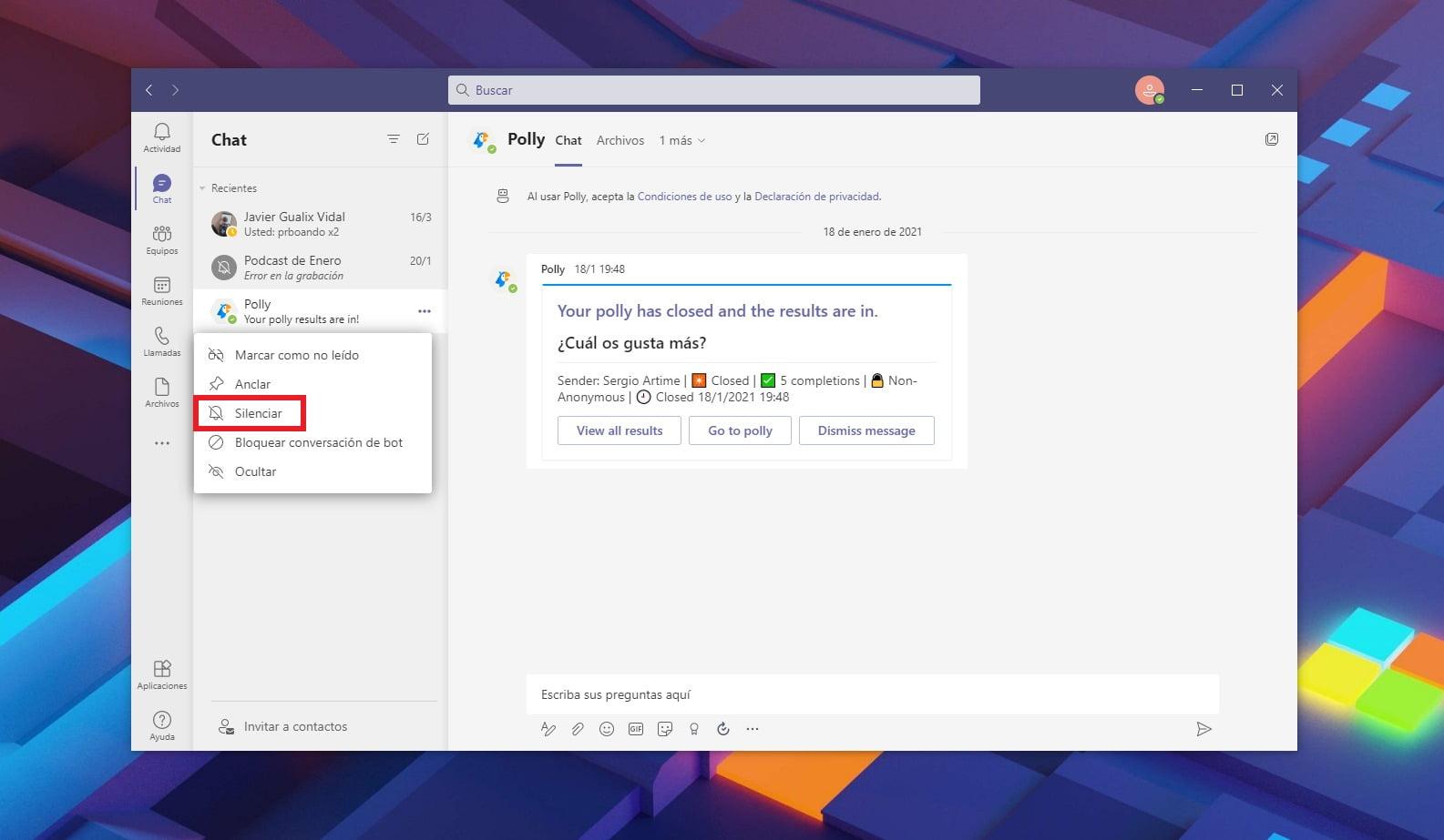 Silenciar a un contacto en Microsoft Teams