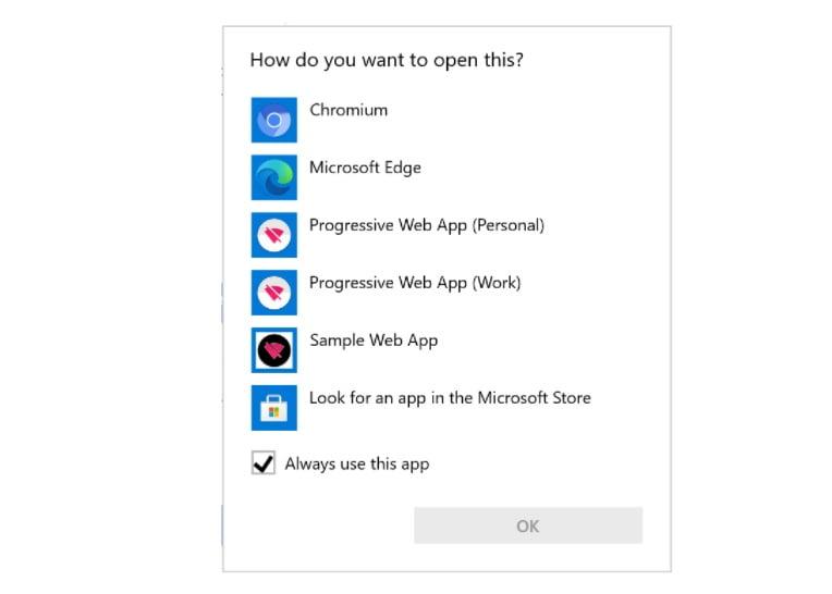"Diálogo de ""abrir con"" en Windows 10 con PWAs"