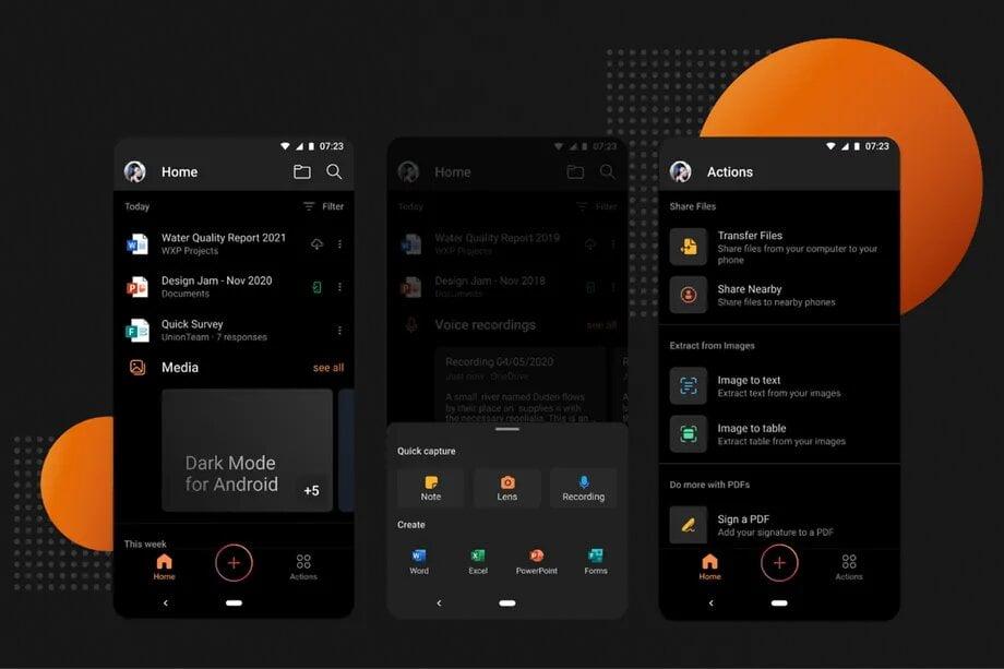 Modo oscuro en Office para Android