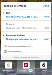La bandeja de entrada de Outlook en Edge Canary
