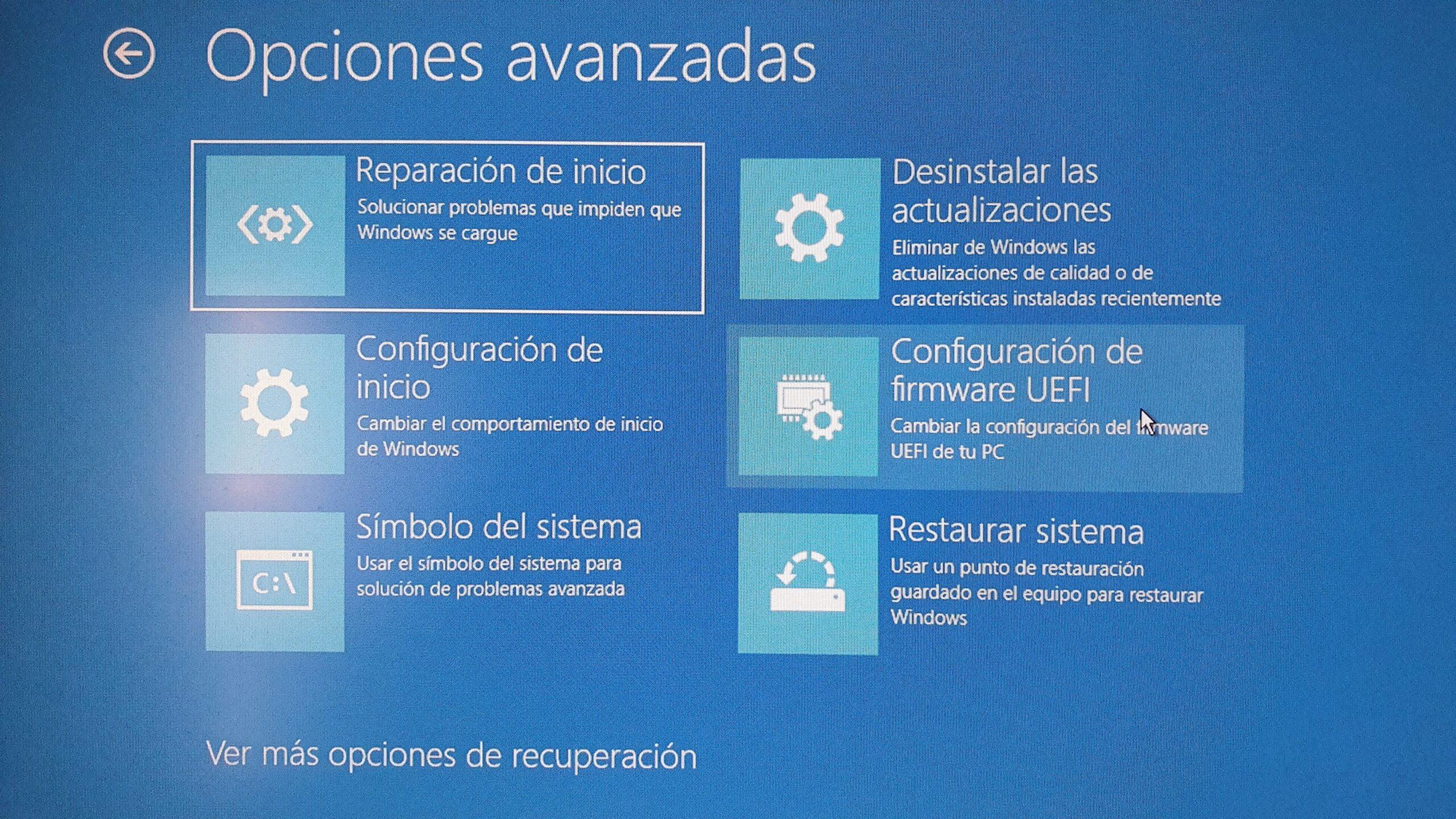 Opciones avanzadas de inicio de Windows 10