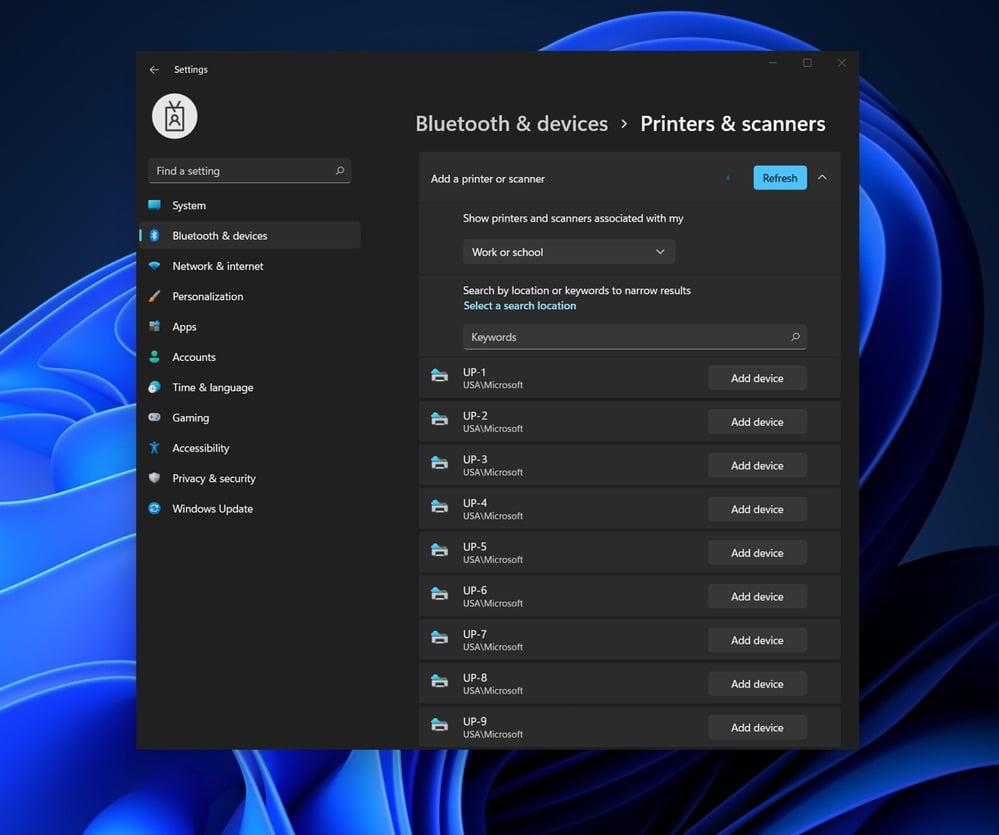 Captura de la configuración de Impresión Universal