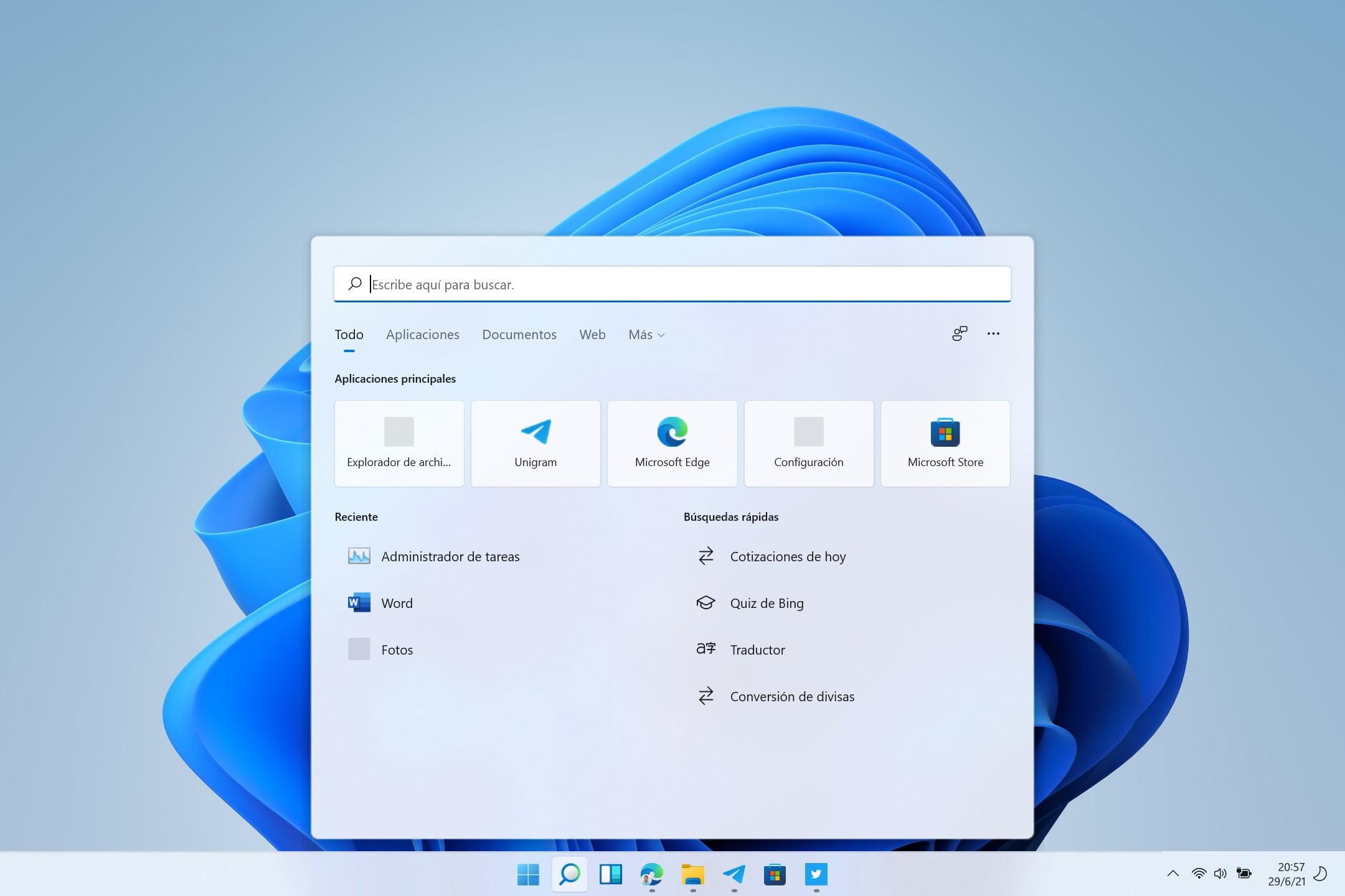 Bug de iconos en la Búsqueda de Windows 11