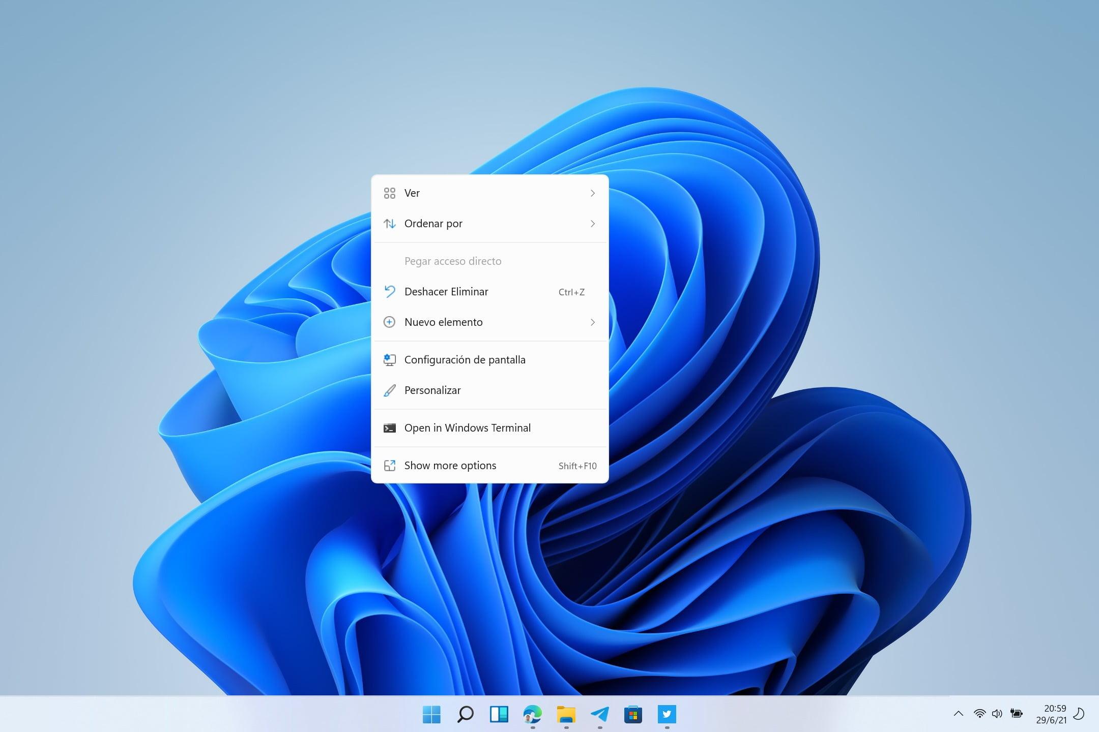 Menús contextuales Windows 11