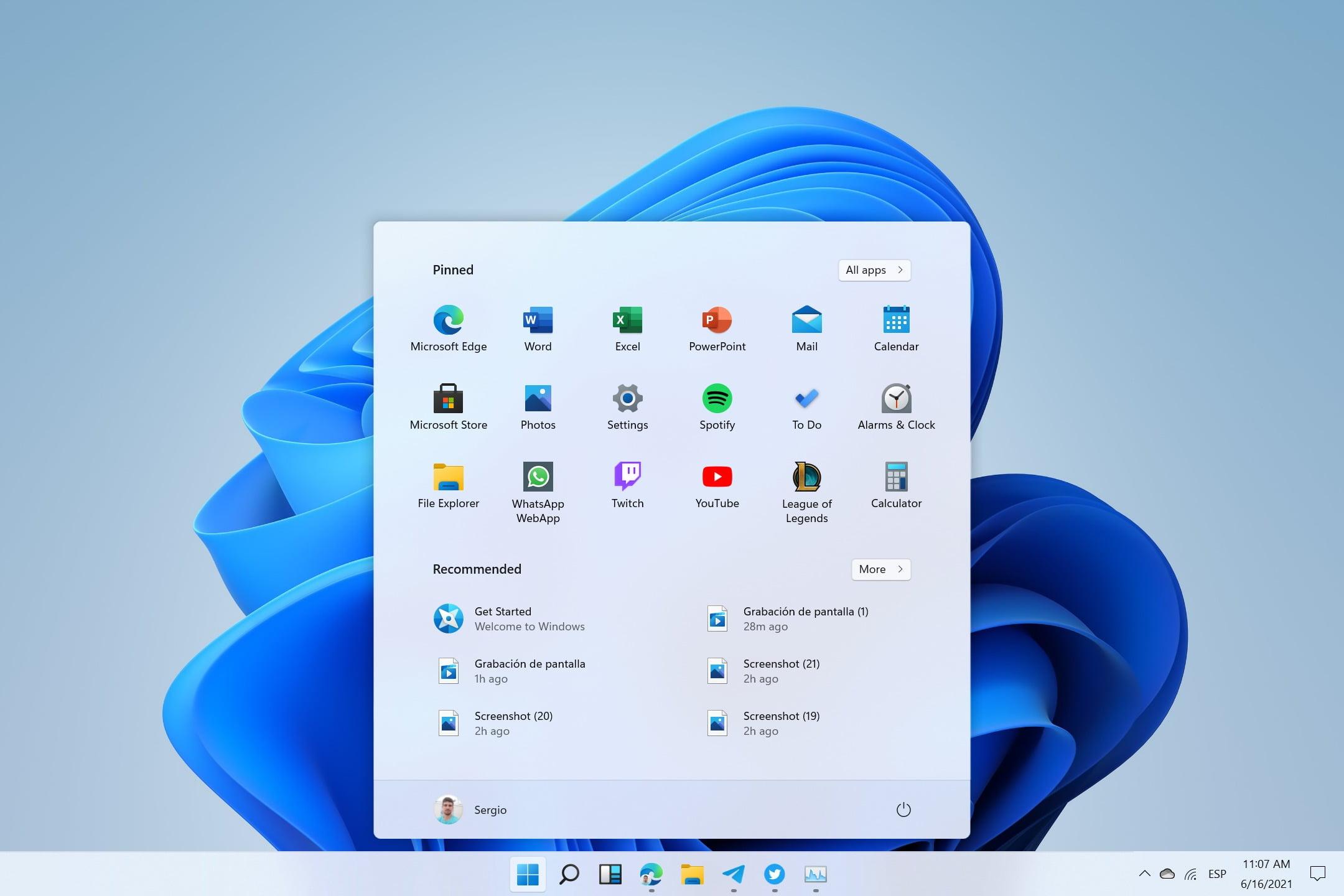 menú Inicio de Windows 11