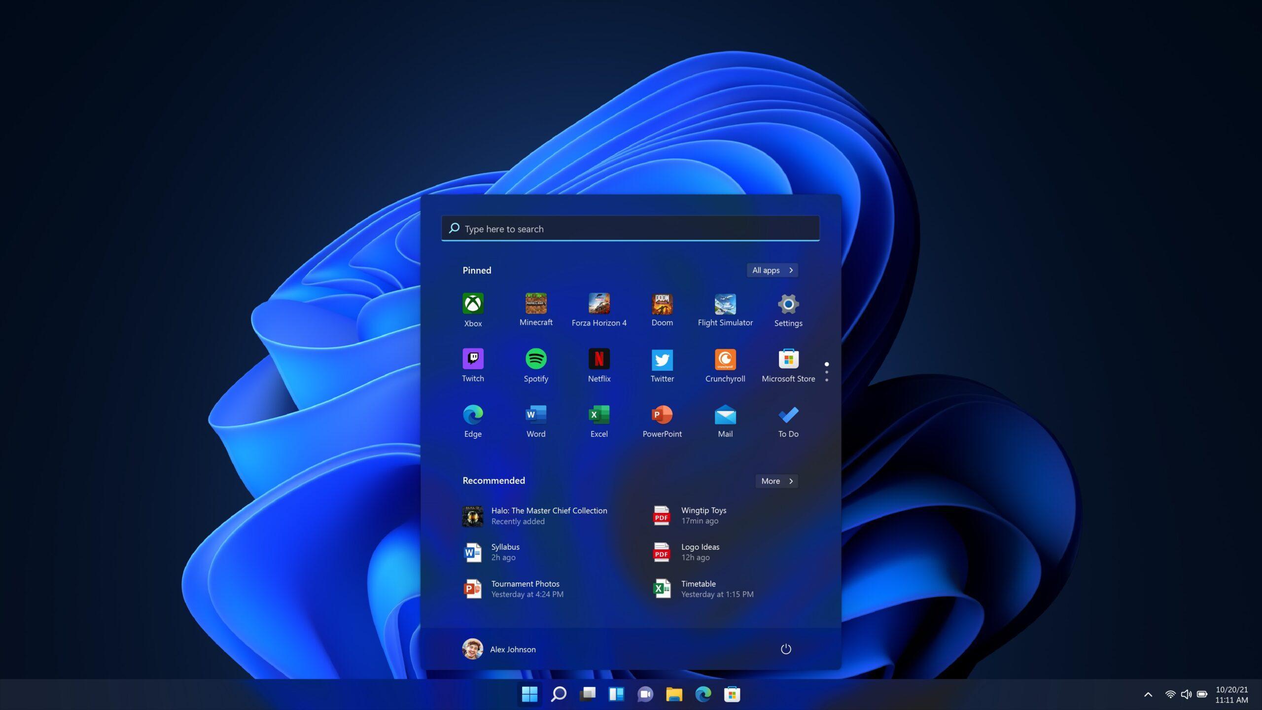 Windows 11 Menú Inicio Tema Oscuro