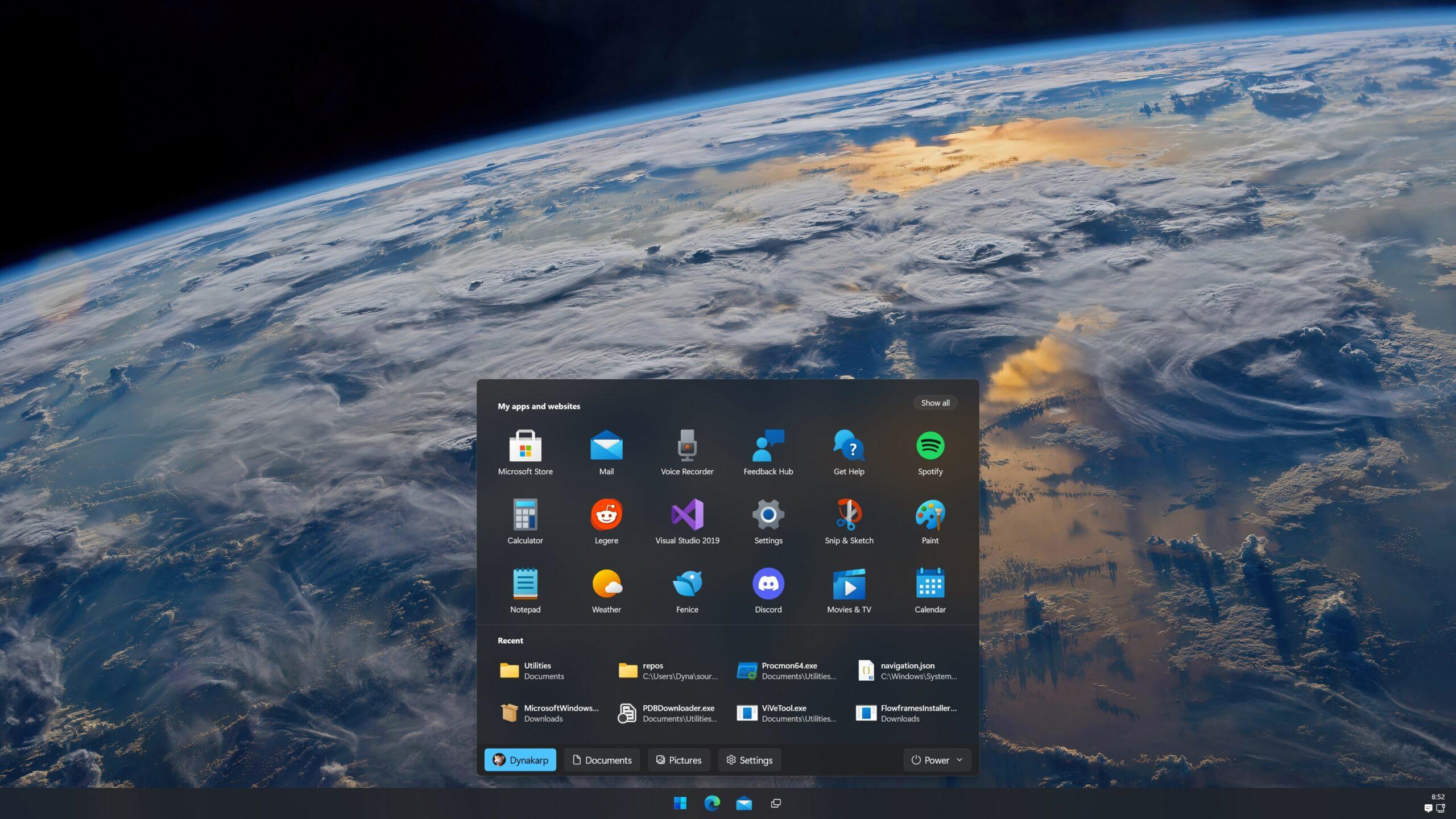 Concepto del menú Inicio de Windows 11 (tema oscuro)