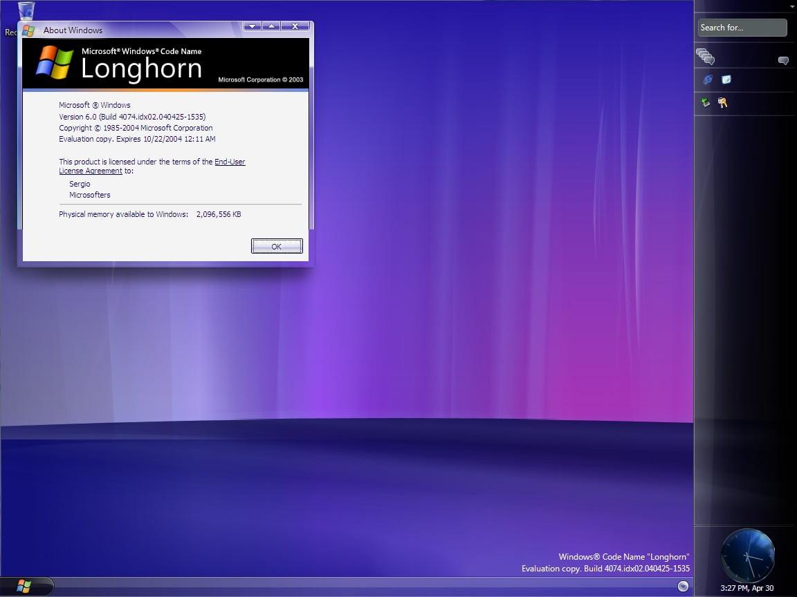 Longhorn, build 4074.