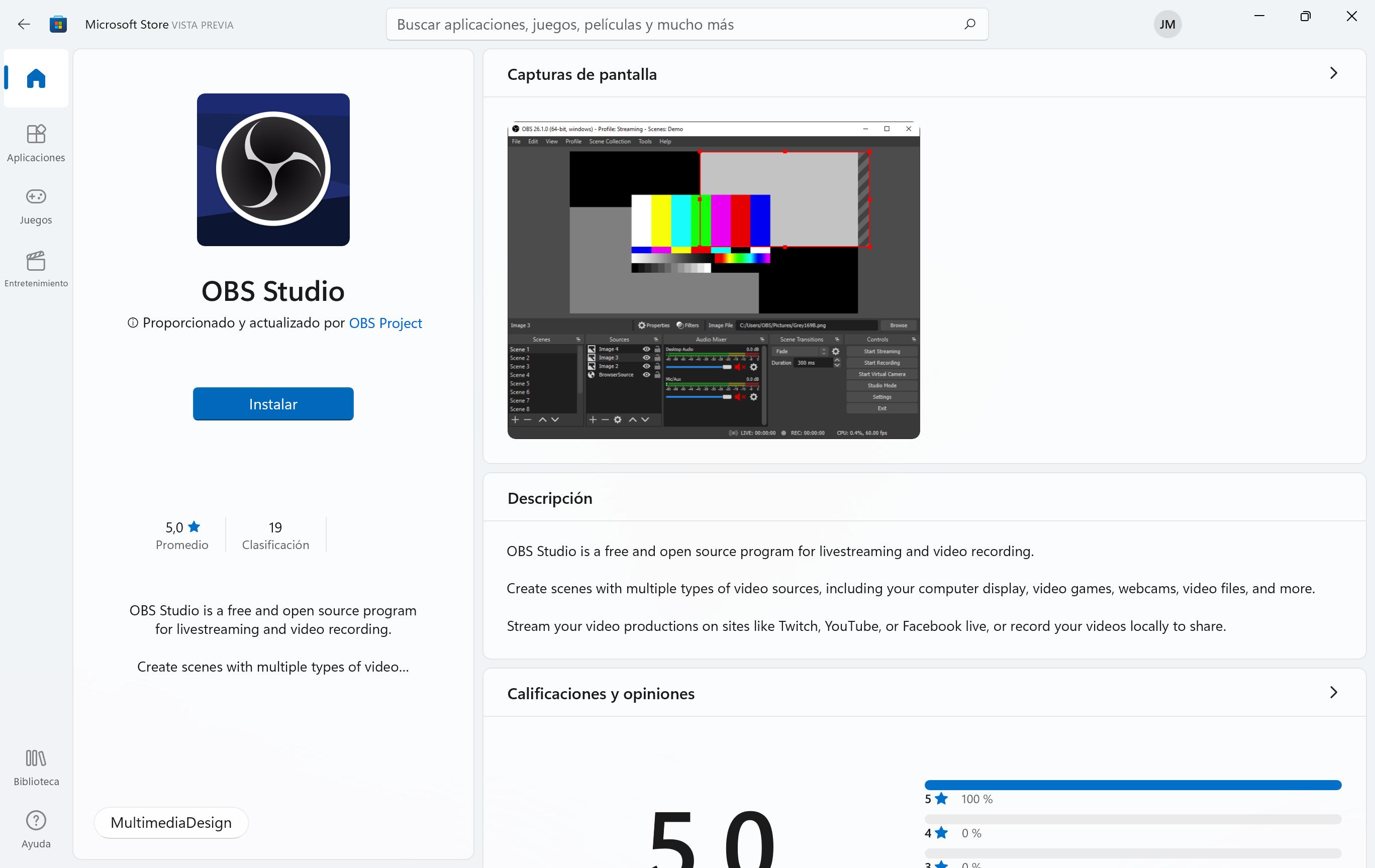 OBS Studio en la tienda de Windows 11