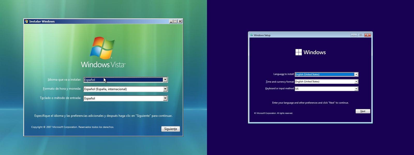 Instaladores de Longhorn y Windows 11.