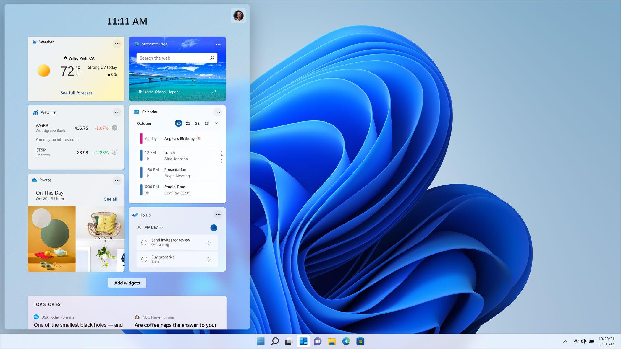 Widgets de Windows 11