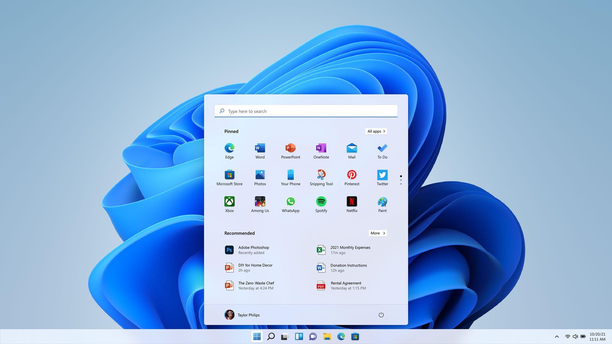 Menú Inicio de Windows 11 en tema claro