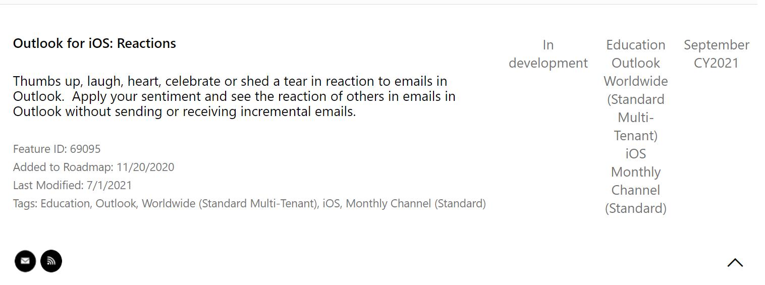 Las reacciones de Outlook en iOS