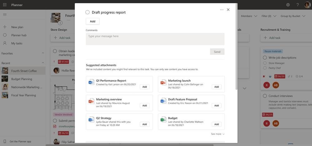 Los adjuntos sugeridos en Microsoft Planner