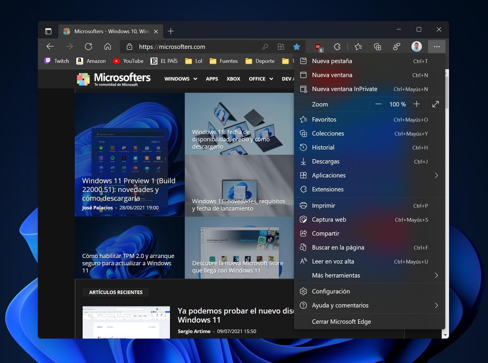 Nuevo diseño de Edge en Windows 11