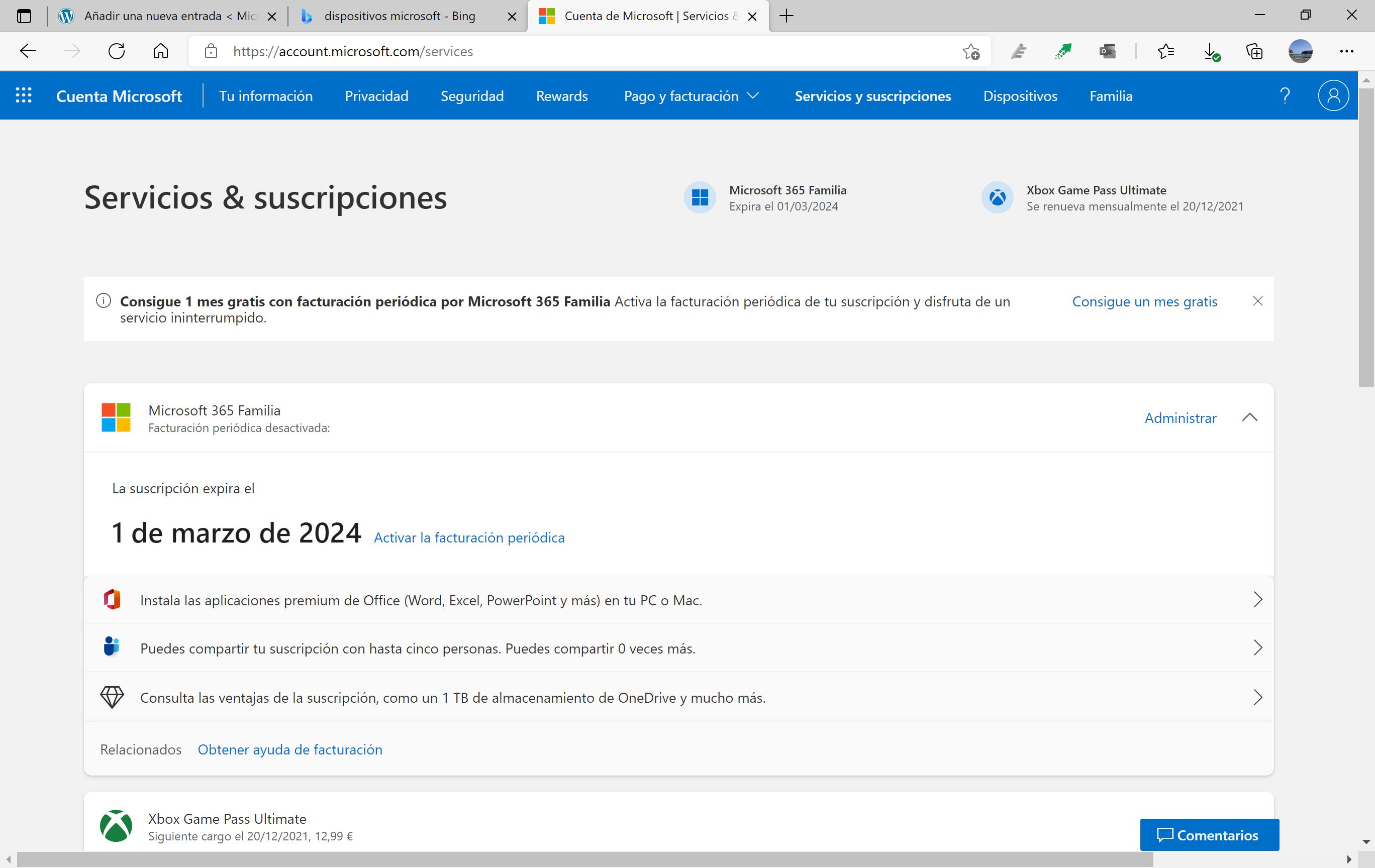 Las suscripciones en la cuenta Microsoft con el estilo de Windows 11
