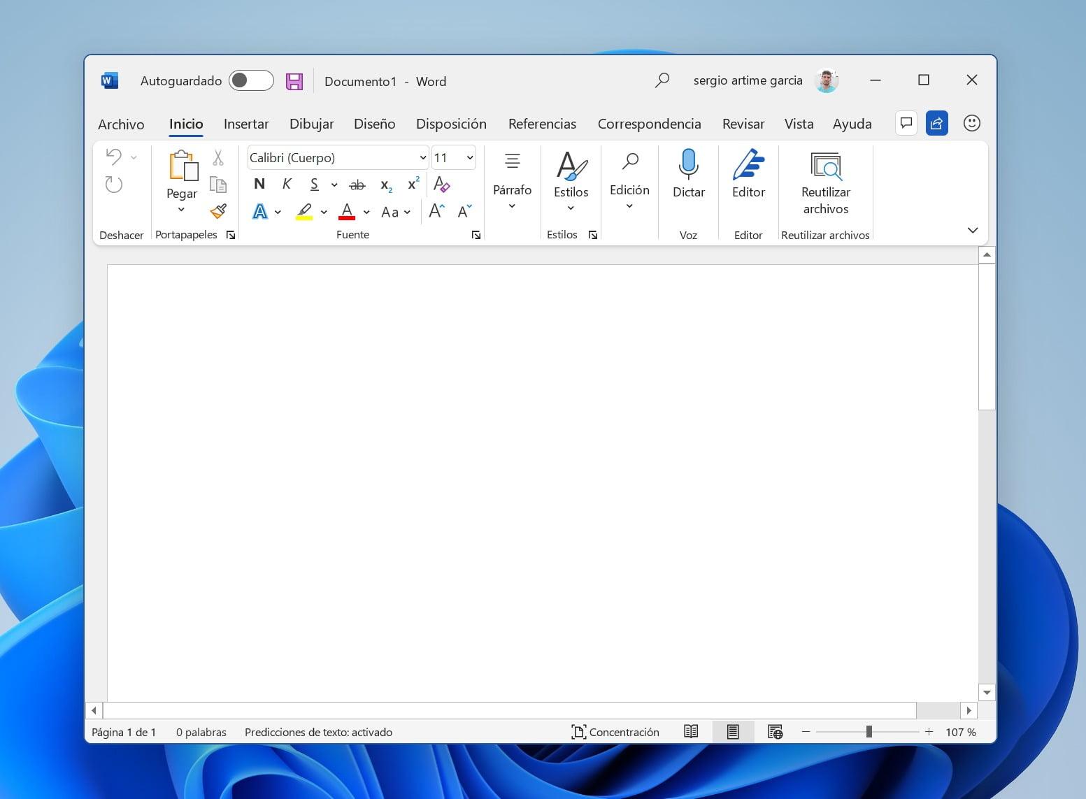 Nuevo diseño de Office en tema claro