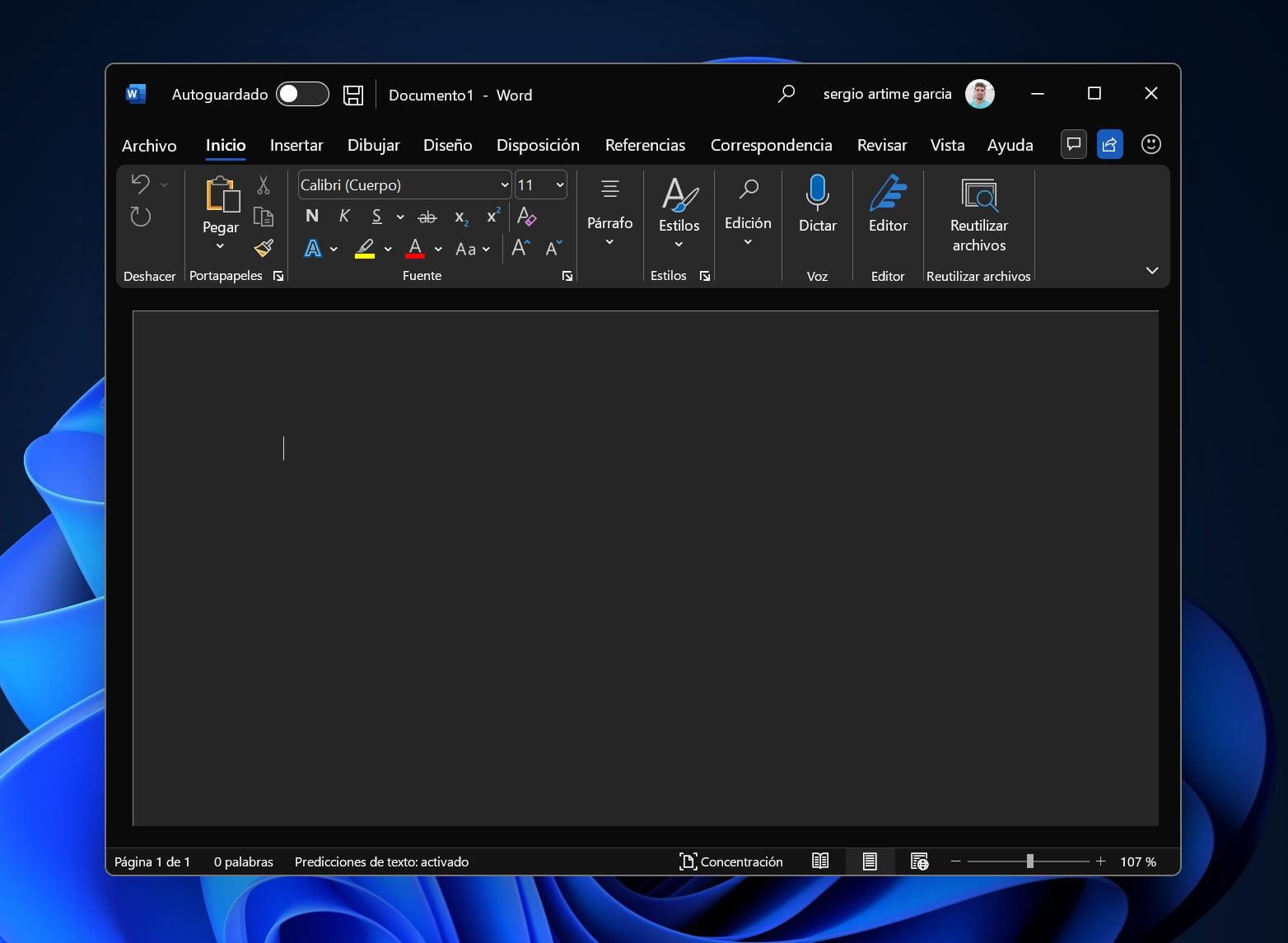 Nuevo diseño de Office en tema oscuro