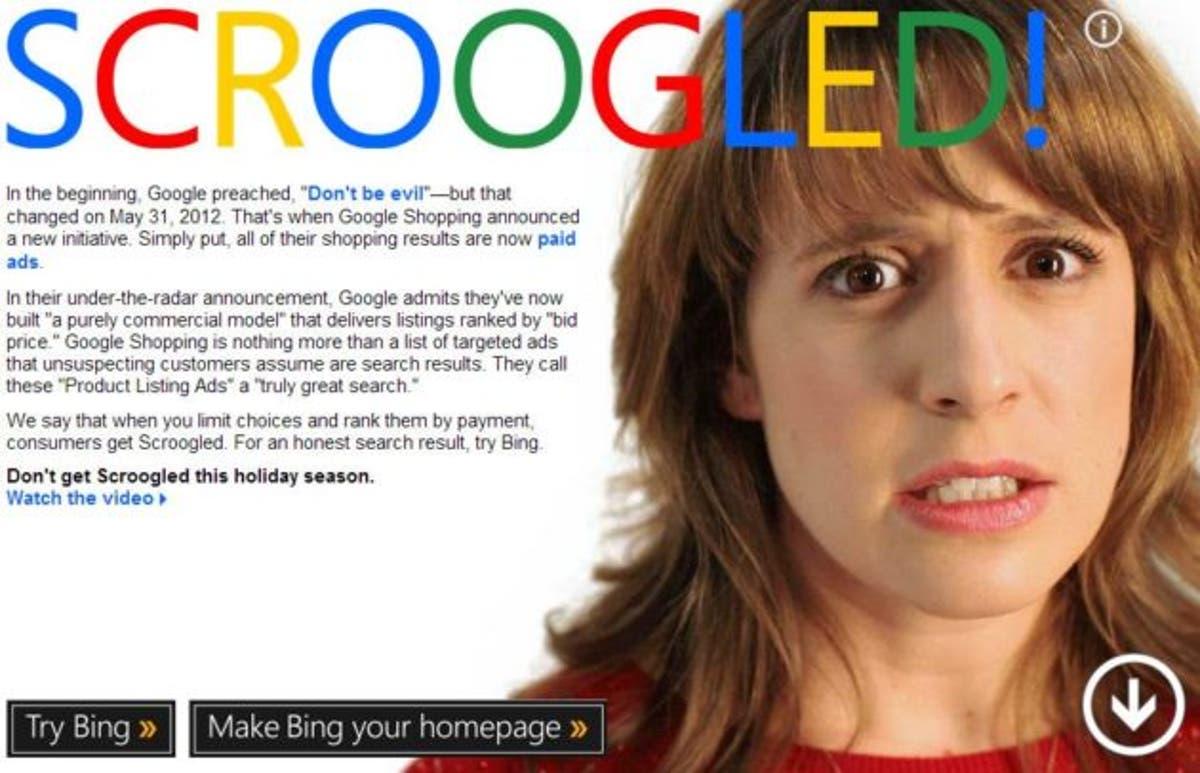 Campaña de Scroogled de Microsoft contra Google