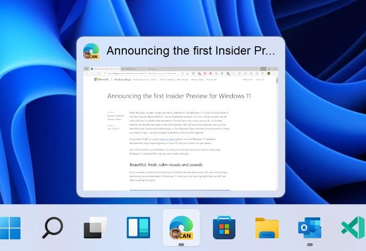 Vista previa de aplicación en la barra de tareas de Windows 11