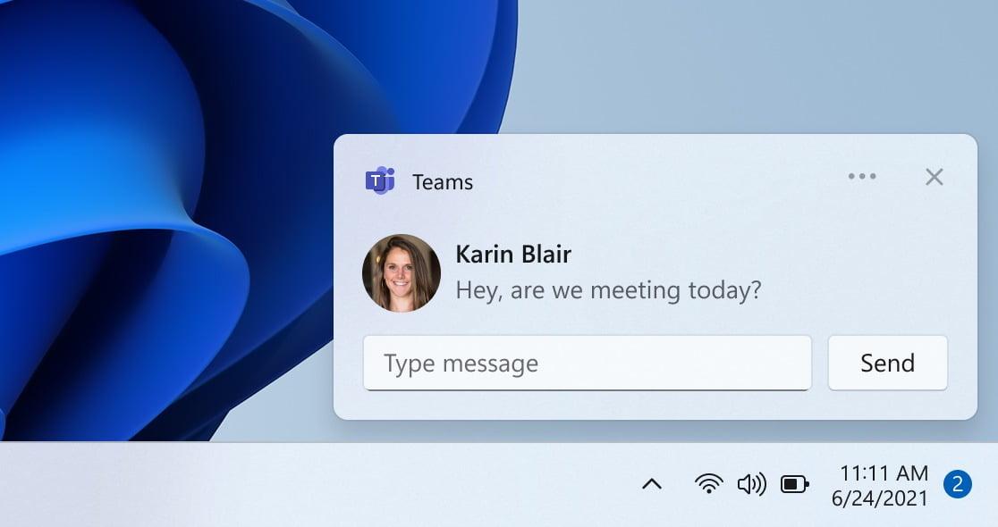 Notificaciones de Teams en Windows 11