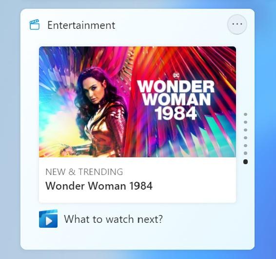 Widget de entretenimiento en Windows 11