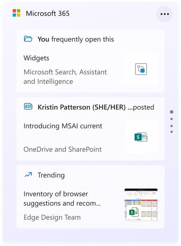 Widget de Microsoft 365