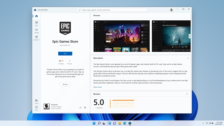 La Epic Games Store en Windows 11