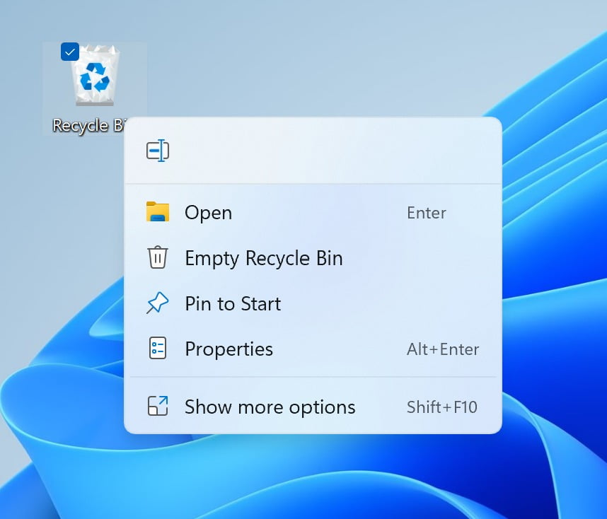Nuevo menú de clic derecho en la Papelera de Reciclaje